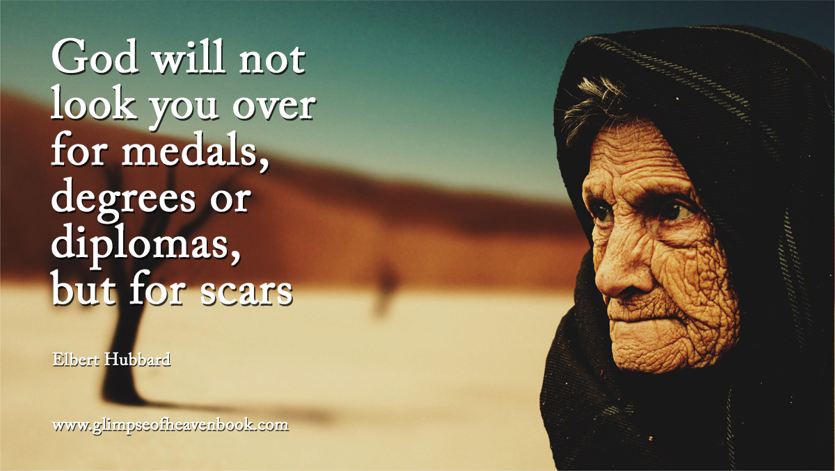 God will not  look you over for medals,  degrees or  diplomas, but for scars   Elbert Hubbard
