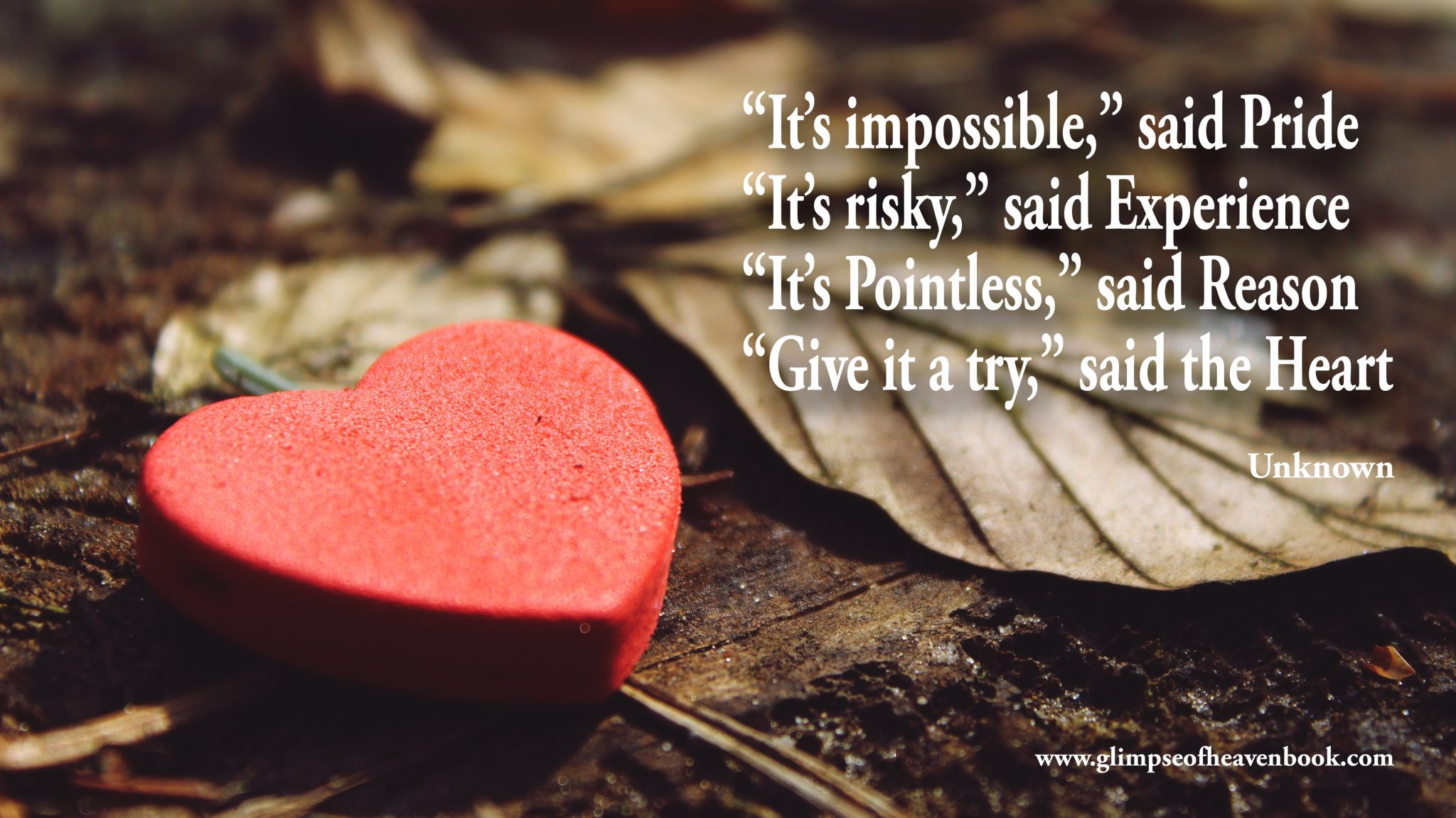 """It's impossible,"" said Pride ""It's risky,"" said Experience ""It's Pointless,"" said Reason ""Give it a try,"" said the Heart ¨Unknown"